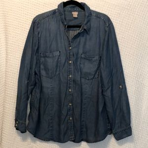 Chico's Blue Chambray Button Down Shirt - Size 3